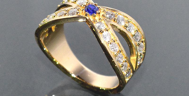 【9月誕生石】サファイア&ダイヤモンド インターセクトリング K18YG(18金イエローゴールド)