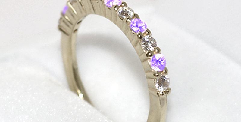 12月誕生石タンザナイト&ダイヤモンド ハーフエタニティリング K18WG(18金ホワイトゴールド)