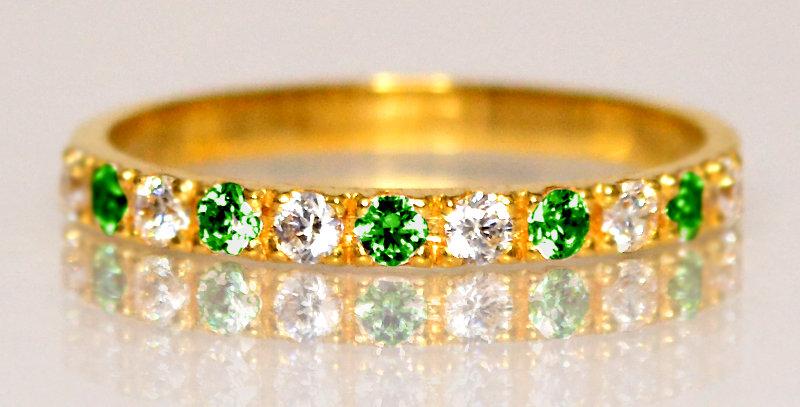 5月誕生石エメラルド&ダイヤモンド ハーフエタニティリング K18YG(18金イエローゴールド)
