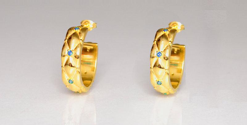 11月誕生石ブルートパーズ ダイヤキルトフープピアス スターリングシルバー(SV925) ゴールドコーティング