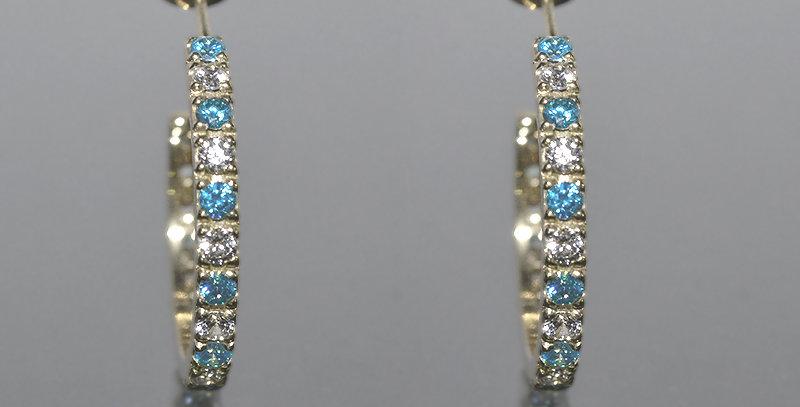 11月誕生石ブルートパーズ&ダイヤモンド エタニティフープピアス K18WG(18金ホワイトゴールド)