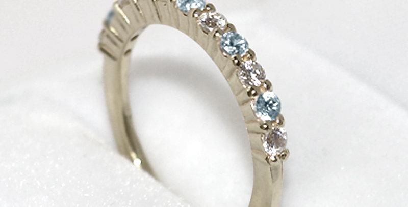 3月誕生石アクアマリン&ダイヤモンド ハーフエタニティリング K18WG(18金ホワイトゴールド)