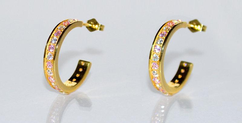 10月誕生石ピンクトルマリン&ダイヤモンド エタニティフープピアス K18YG(18金イエローゴールド)