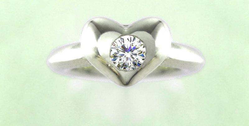 ぷっくりハートのベビーリング 4月誕生石ダイヤモンド pt900(プラチナ)