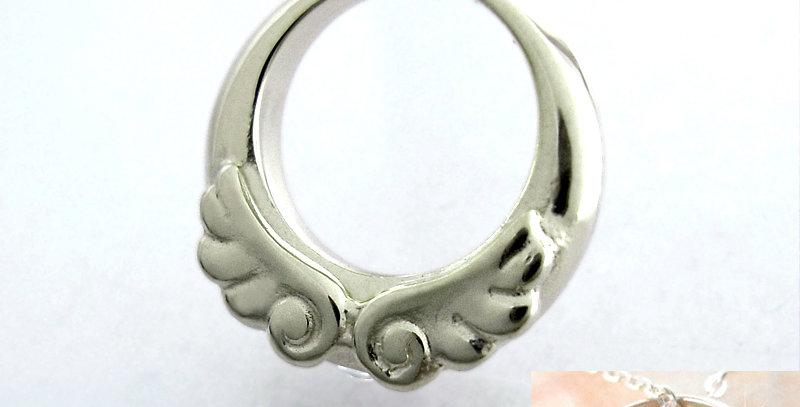 天使のベビーリング<ペンダントタイプ> 4月誕生石ダイヤモンド SV925(シルバー)
