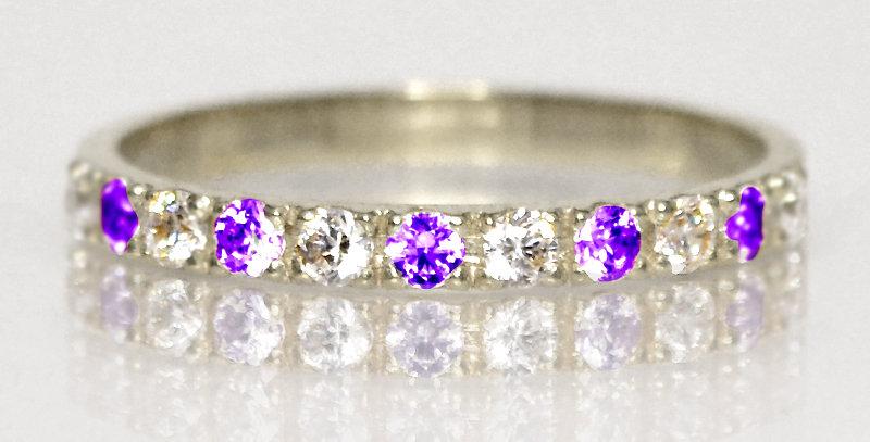 2月誕生石アメジスト&ダイヤモンド ハーフエタニティリング K18WG(18金ホワイトゴールド)