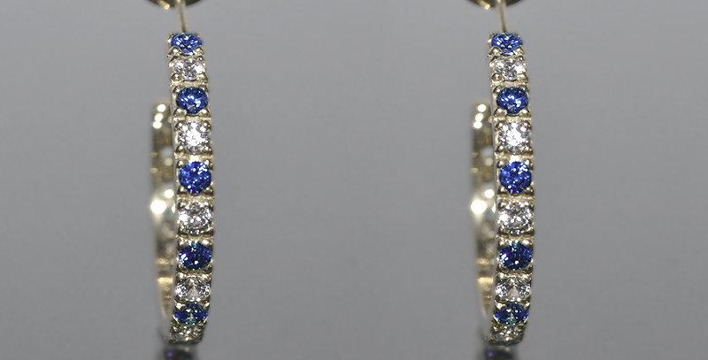 9月誕生石サファイア&ダイヤモンド エタニティフープピアス K18WG(18金ホワイトゴールド)