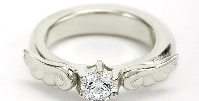 エンジェルエンゲージベビーリング 4月誕生石ダイヤモンド SV925(シルバー)