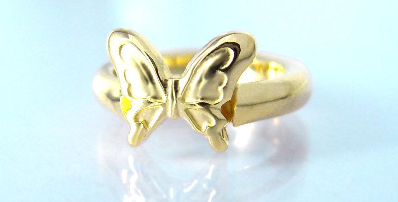 大きな蝶々のベビーリング 選べる誕生石 K10YG(10金イエローゴールド)