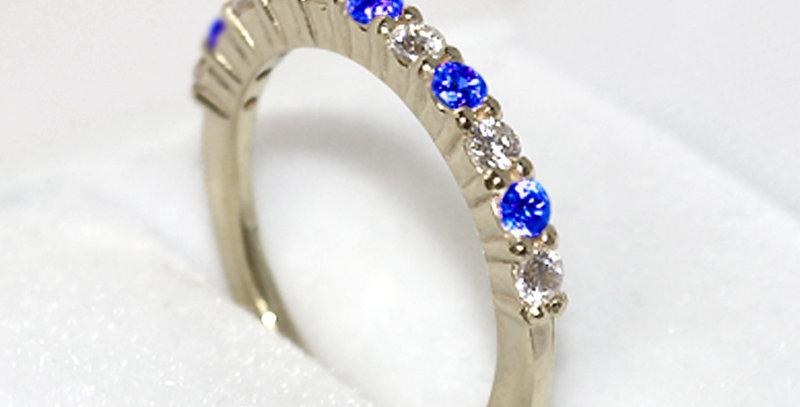 9月誕生石サファイア&ダイヤモンド ハーフエタニティリング K18WG(18金ホワイトゴールド)