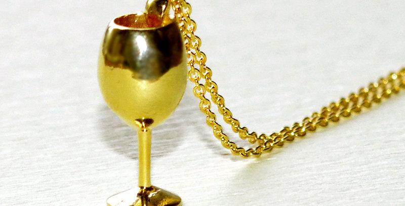 ワイングラス ペンダントネックレス  鏡面仕上げ  K10YG(10金イエローゴールド)