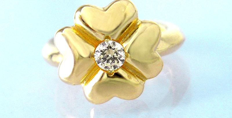 四つ葉のクローバーベビーリング 4月誕生石ダイヤモンド K10YG(10金イエローゴールド)