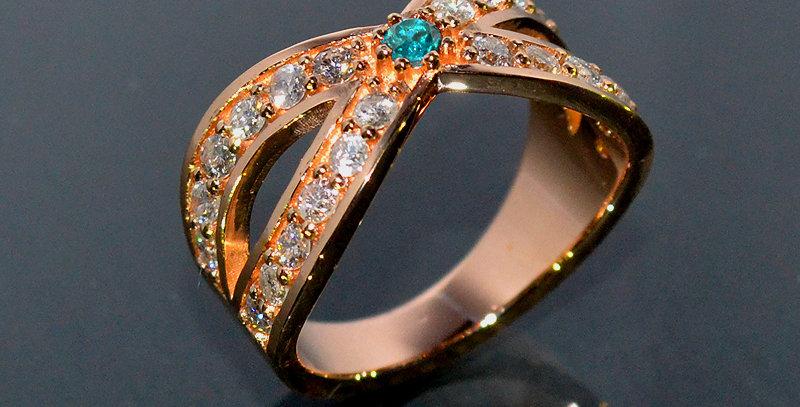 【11月誕生石】 ブルートパーズ&ダイヤモンド  インターセクトリング  K18PG(18金ピンクゴールド)