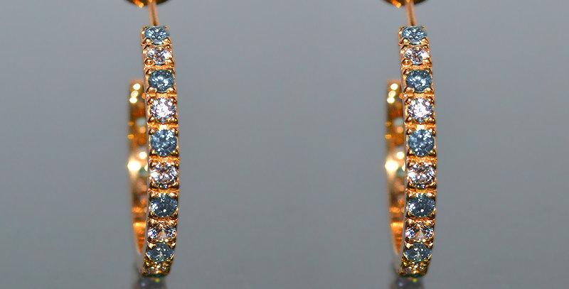 3月誕生石アクアマリン&ダイヤモンド エタニティフープピアス K18PG(18金ピンクゴールド)