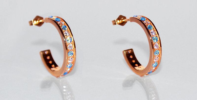 11月誕生石ブルートパーズ&ダイヤモンド エタニティフープピアス K18PG(18金ピンクゴールド)