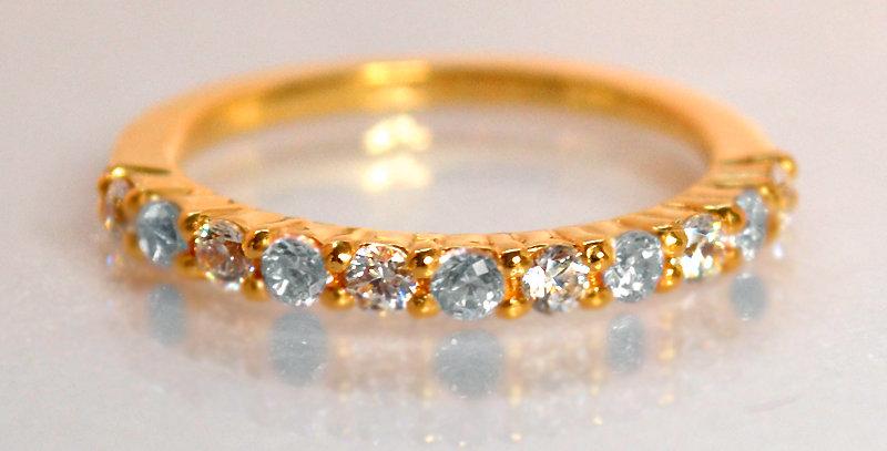 3月誕生石アクアマリン&ダイヤモンド ハーフエタニティリング K18PG(18金ピンクゴールド)