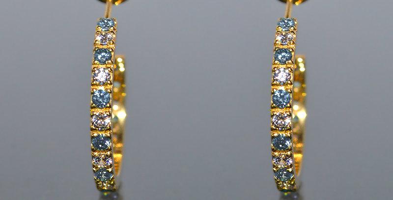 3月誕生石アクアマリン&ダイヤモンド エタニティフープピアス K18YG(18金イエローゴールド)