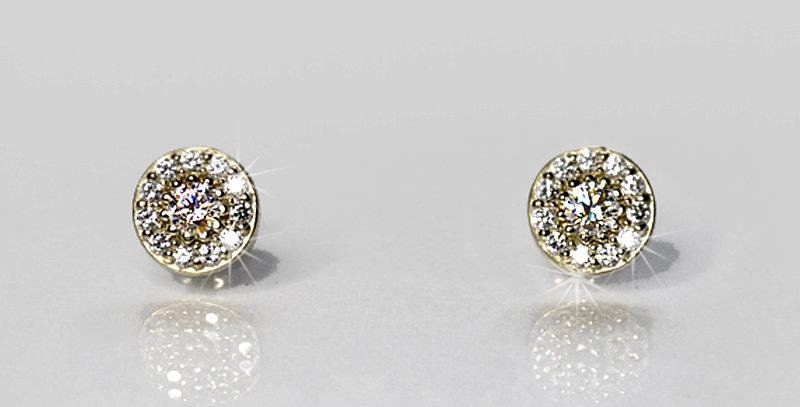 【4月誕生石ダイヤモンド】 ストーンサークルピアス K18WG(18金ホワイトゴールド)