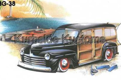 1947 GOOD NEWS FORD WOODIE WITH CHRIS CRAFT BOAT HOT ROD  BG38