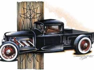 RAT ROD BLACK PICKUP HOT ROD SS286