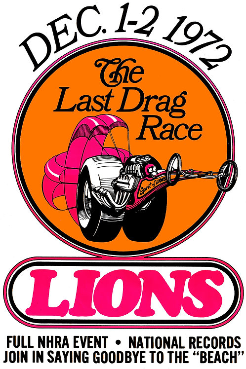 Lions Last Drag Race 1972 Vintage Art MB20