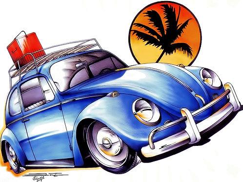 Blue VW Bug POS-342