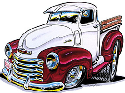 1947-53 RED CHEVY PICKUP HOT ROD BH30R
