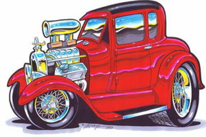 RED BLOWN 5 WINDOW HOT ROD BH113
