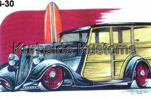 1933-34 BLACK FORD WOODIE WITH RED WHEELS HOT ROD BG30