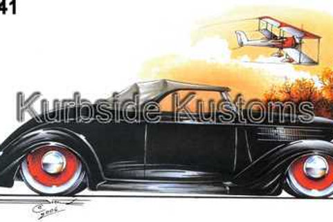 1936 FORD COUPE WITH BI-PLANE HOT ROD T-SHIRT BG41