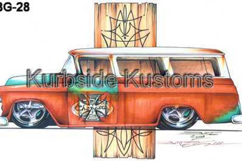 1957 ORANGE CHEVY SUBURBAN HOT ROD  BG28