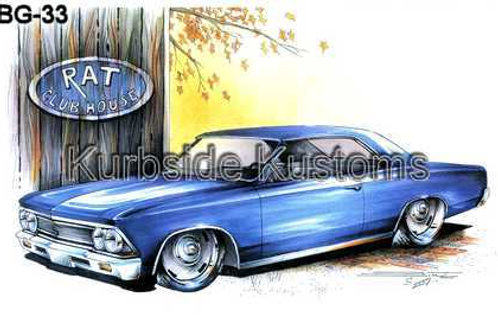 1966 BLUE CHEVY CHEVELLE SS HOT ROD BG33