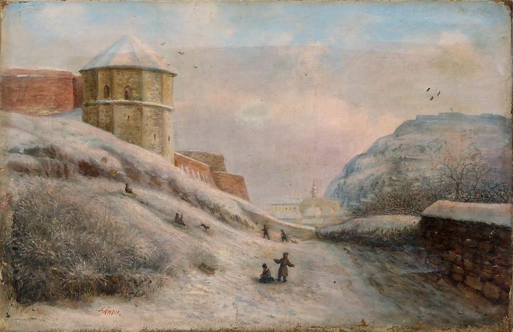 id. Sándy Gyula: Középkori vártorony a budai Vár oldalában, 1875