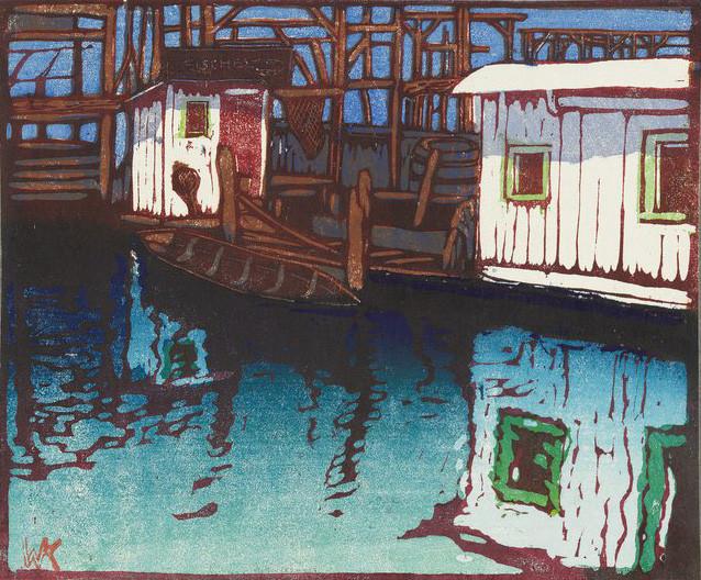 Walther Klemm: Halászbárka a Spree partján. Színes fametszet, 1906