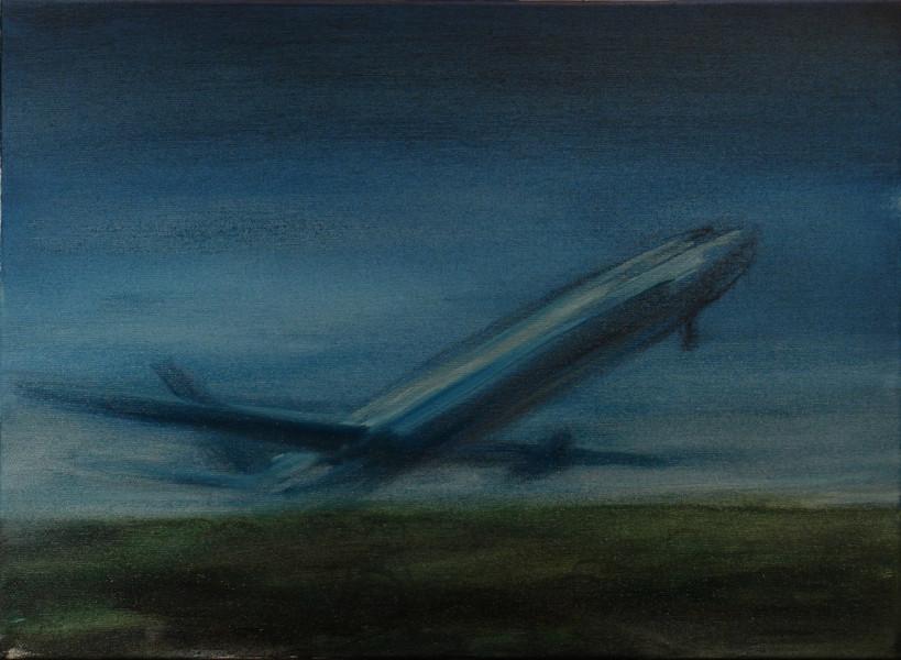 Szotyory László: Emelkedő repülő, 2010. Olaj, vászon, 40x55 cm