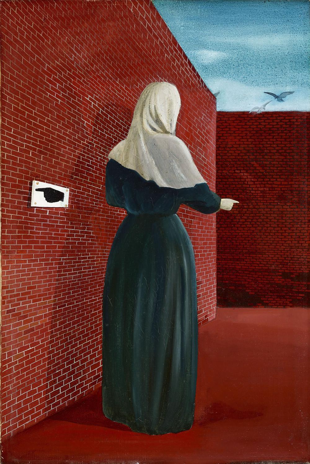Ország Lili: Nő fátyollal (Nő fal előtt), 1956. Olaj, vászon 56x35 cm. Szent István Király Múzeum, Székesfehérvár