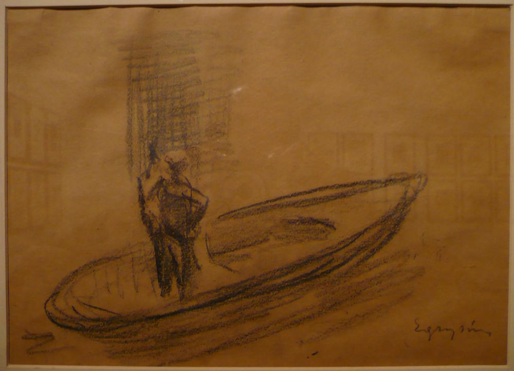4.Egry József: Balatoni halász, 1930-as évek. Grafit, papír