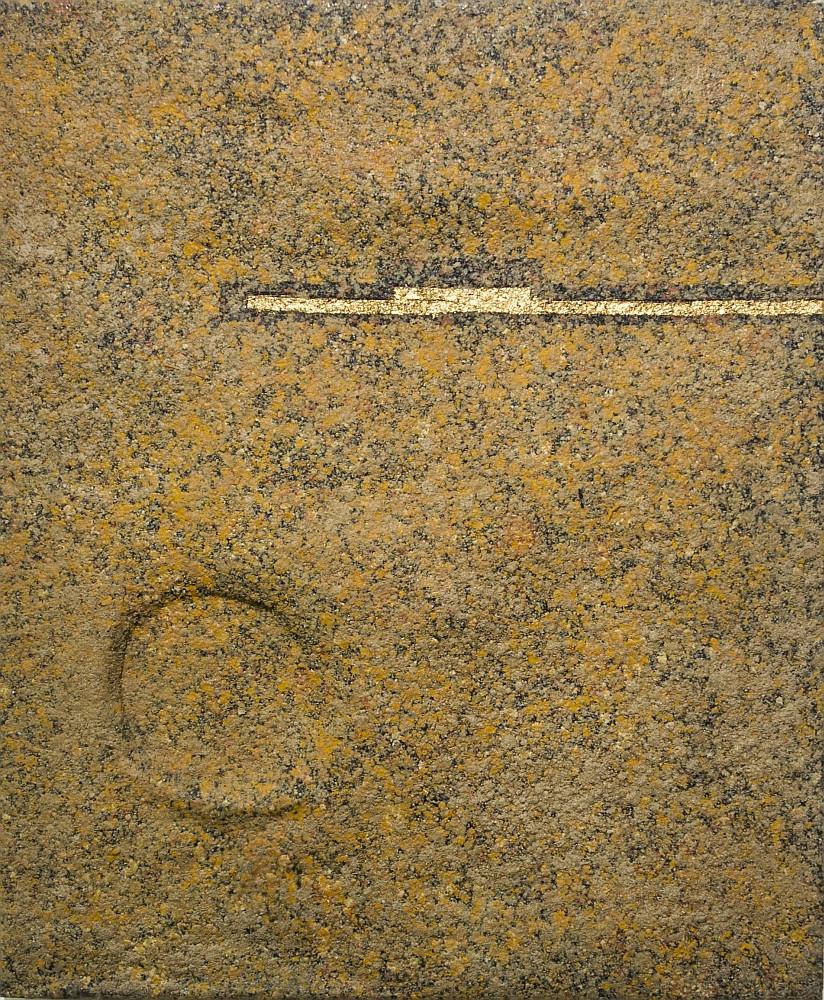 Mulasics László: O.T. (1), 1987. Papírmasé, enkausztika, arany, vászon, 60x50 cm