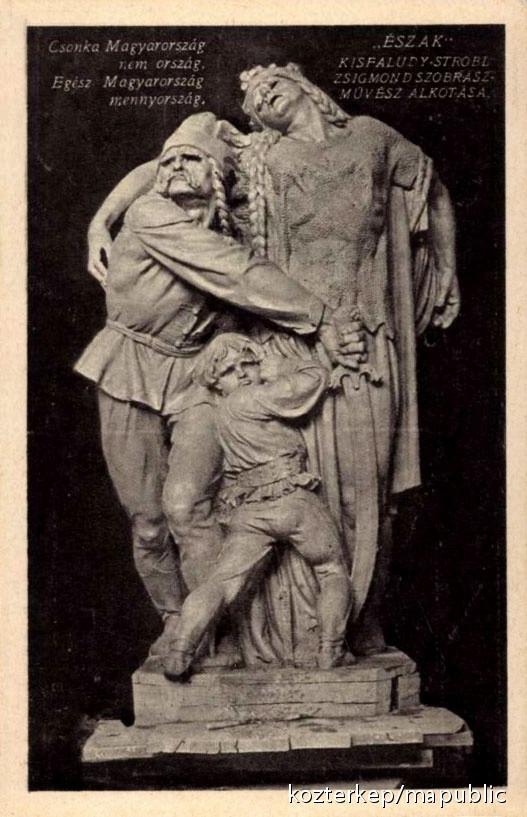 Kisfaludi Strobl Zsigmond: Észak, 1921. Korabeli képeslap; forrás: Köztérkép