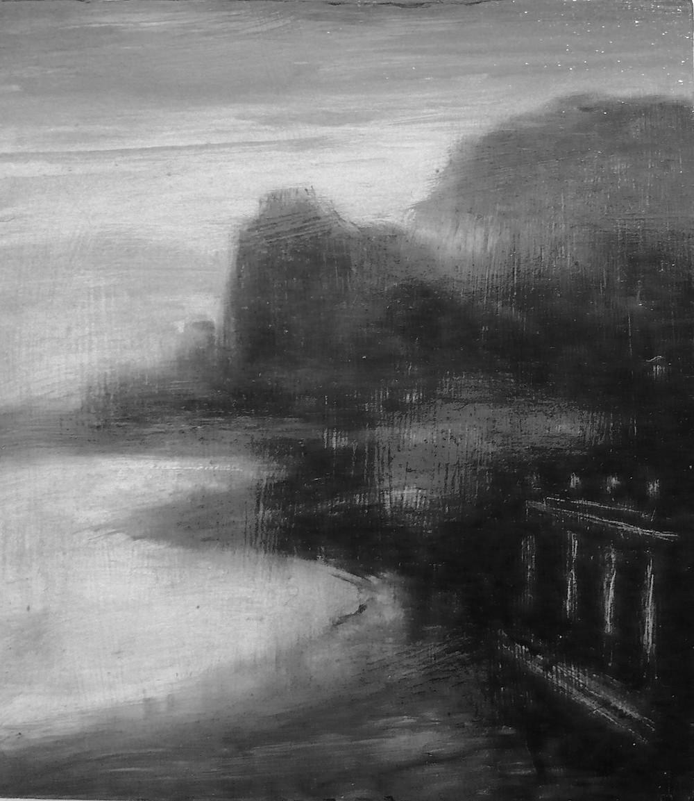 Szotyory László: Romantikus táj (Antik öböl), 2016. Olaj, farost, 30x25 cm