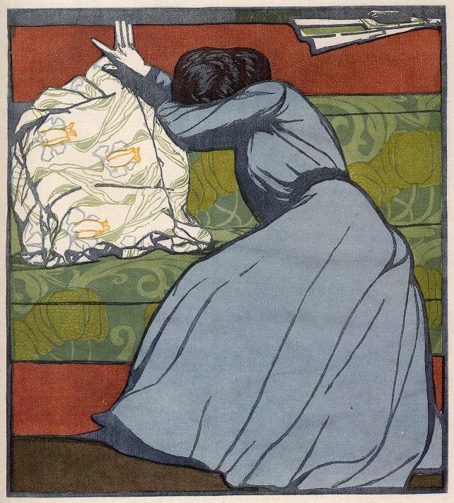 Max Kurzweil: A párna. Színes fametszet, 1903