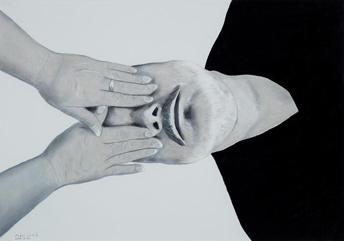 Fehér László: Önarckép befogott szemekkel, 2014
