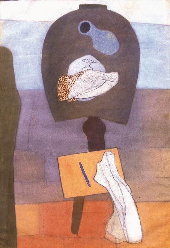 Vajda Lajos: Csendélet patkó alakú asztallal, 1934
