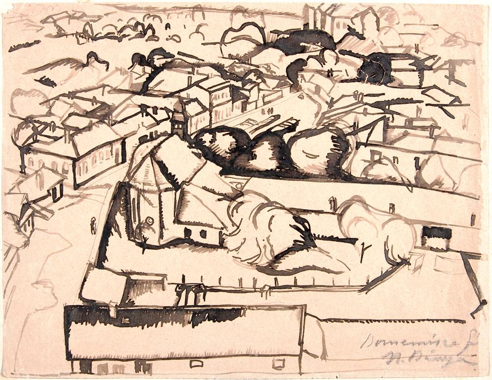 Bornemissza Géza: Nagybányai táj, 1912 körül. Tus, toll, papír .© Magyar Nemzeti Galéria