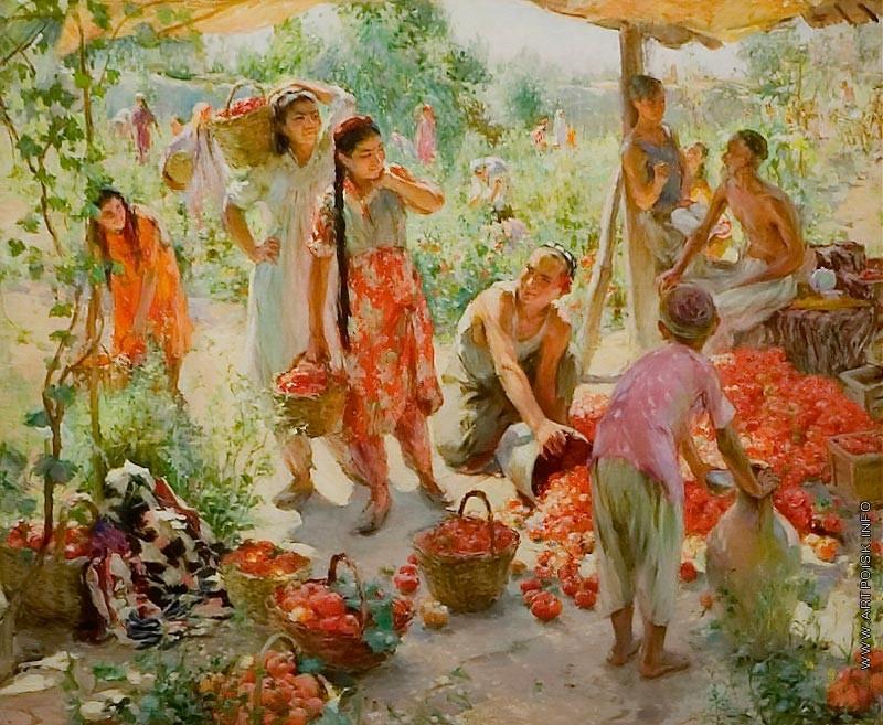 Zinaida Mihajlovna Kovalevszkaja (1902—1979): Paradicsomszüret. 1949. The Museum of Russian Art, Minneapolis. Fotó: http://artpoisk.info/artist/kovalevskaya_zinaida_mihaylovna_1902/sbor_pomidorov/
