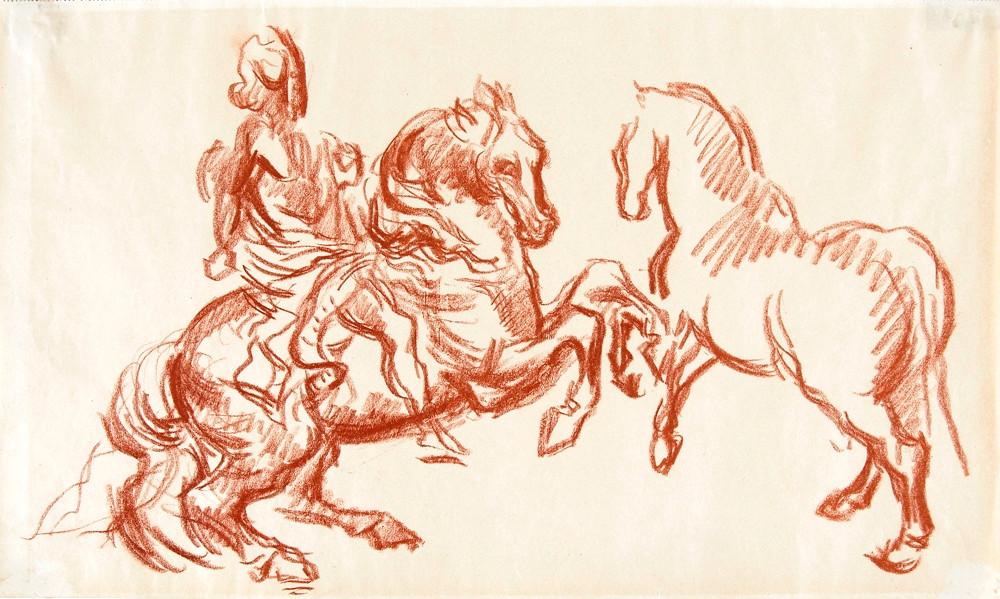 Ferenczy Béni: Lovas Bernini után és lépő lótanulmány, 1938. Vörös kréta, papír. © Magyar Nemzeti Galéria