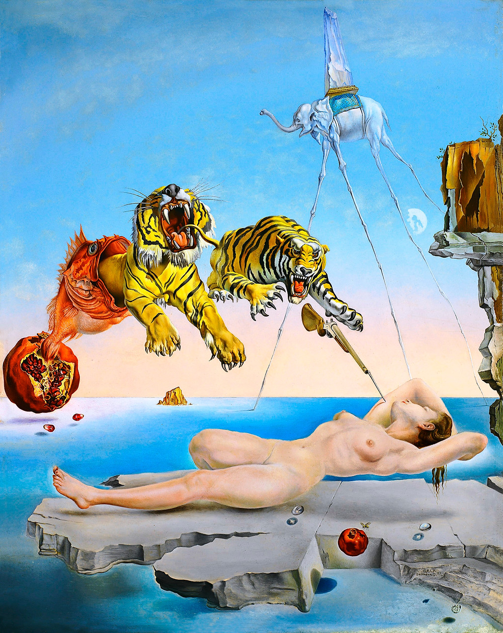 Salvador Dalí: Álom, melyet a gránátalma körül repkedő méh váltott ki egy pillanattal az ébredés előtt, 1944