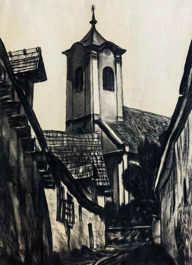 Vajda Lajos: Szentendrei utcarészlet templommal, 1928 körül