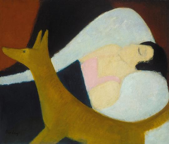 Berény Róbert: Alvó nő rókával. 1