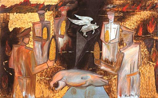 Bukta Imre: Katonatisztek disznótoron, 1992
